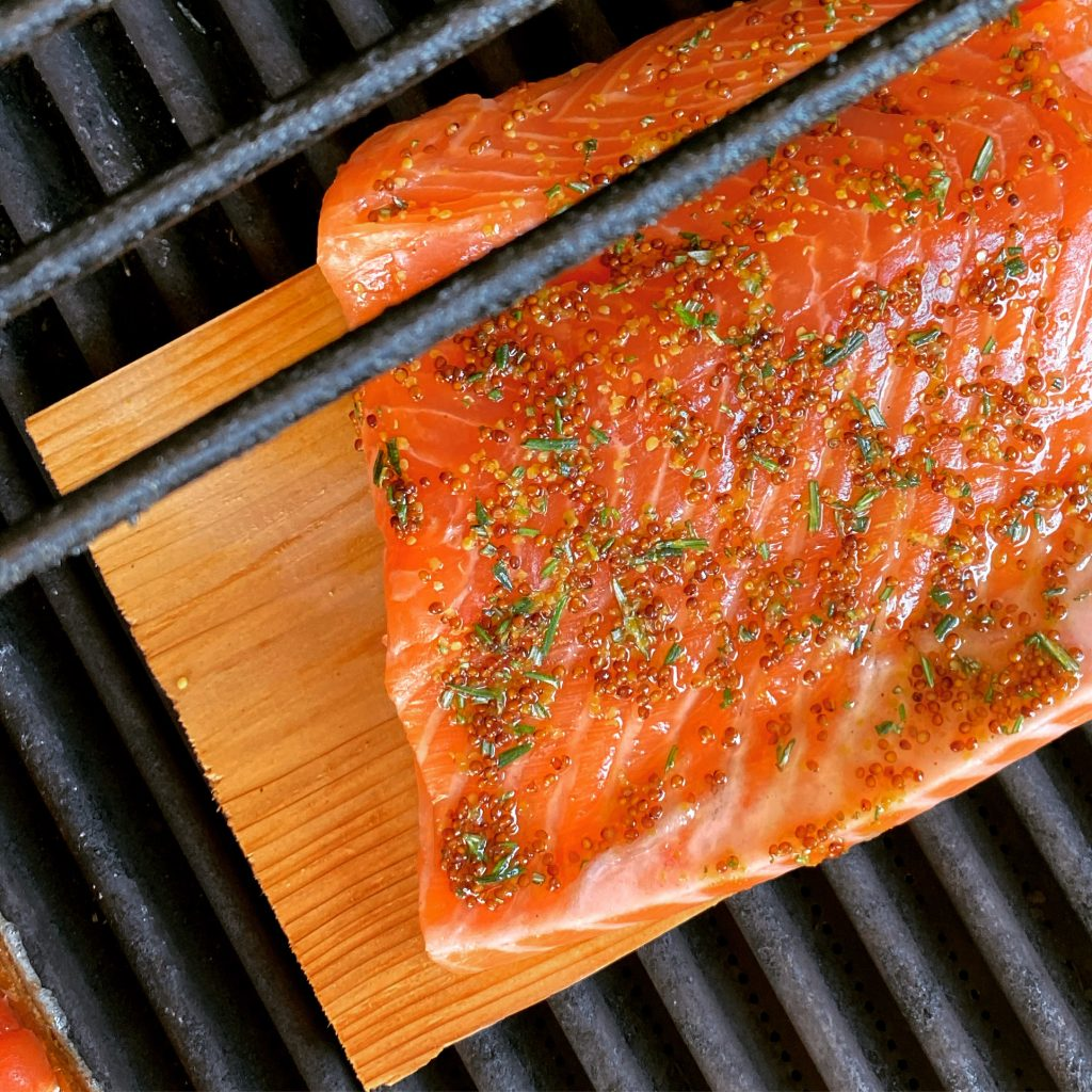 Cedar-Plank Salmon on the grill.