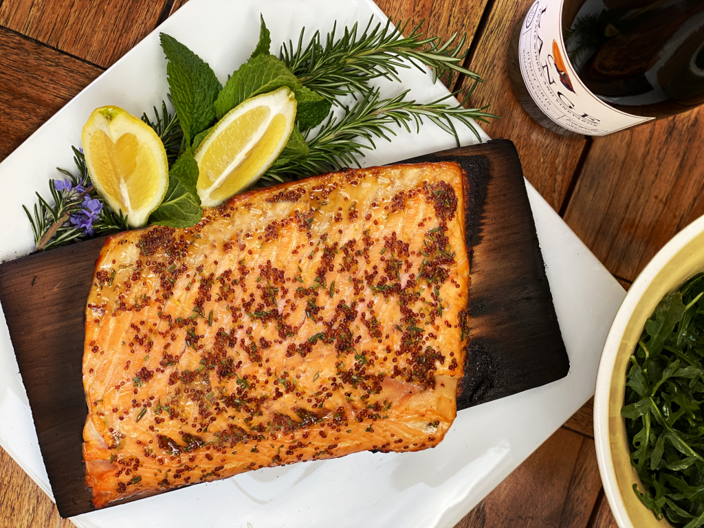 Cedar-Plank Salmon with wine and salad.