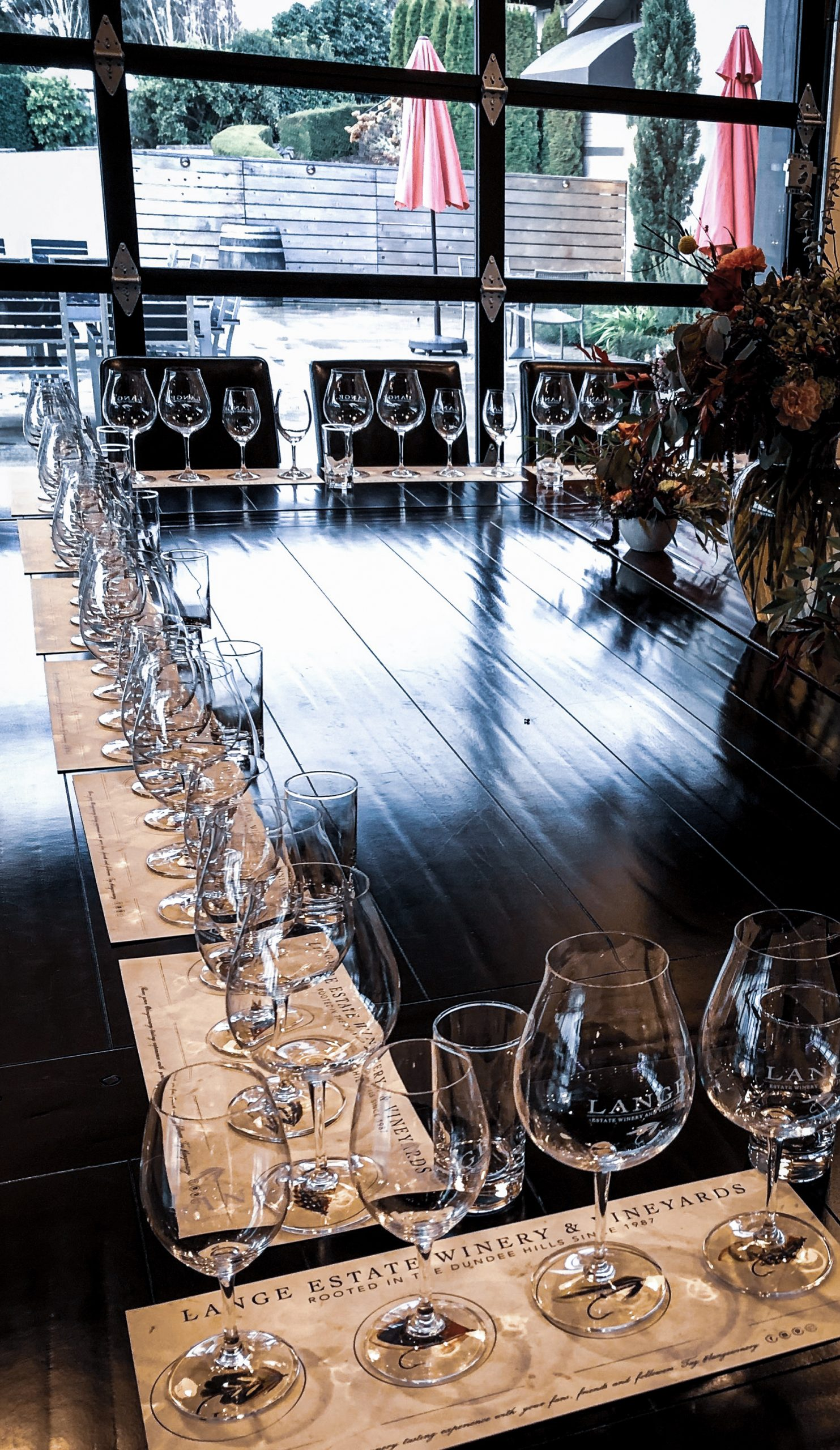 Table set for large group tasting.