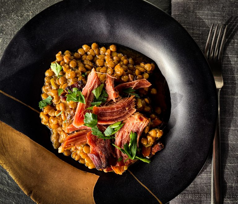 Slow Cooker Lentils with Ham