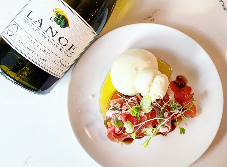 Pizza Capo's Burrata with Peaches and Prosciutto
