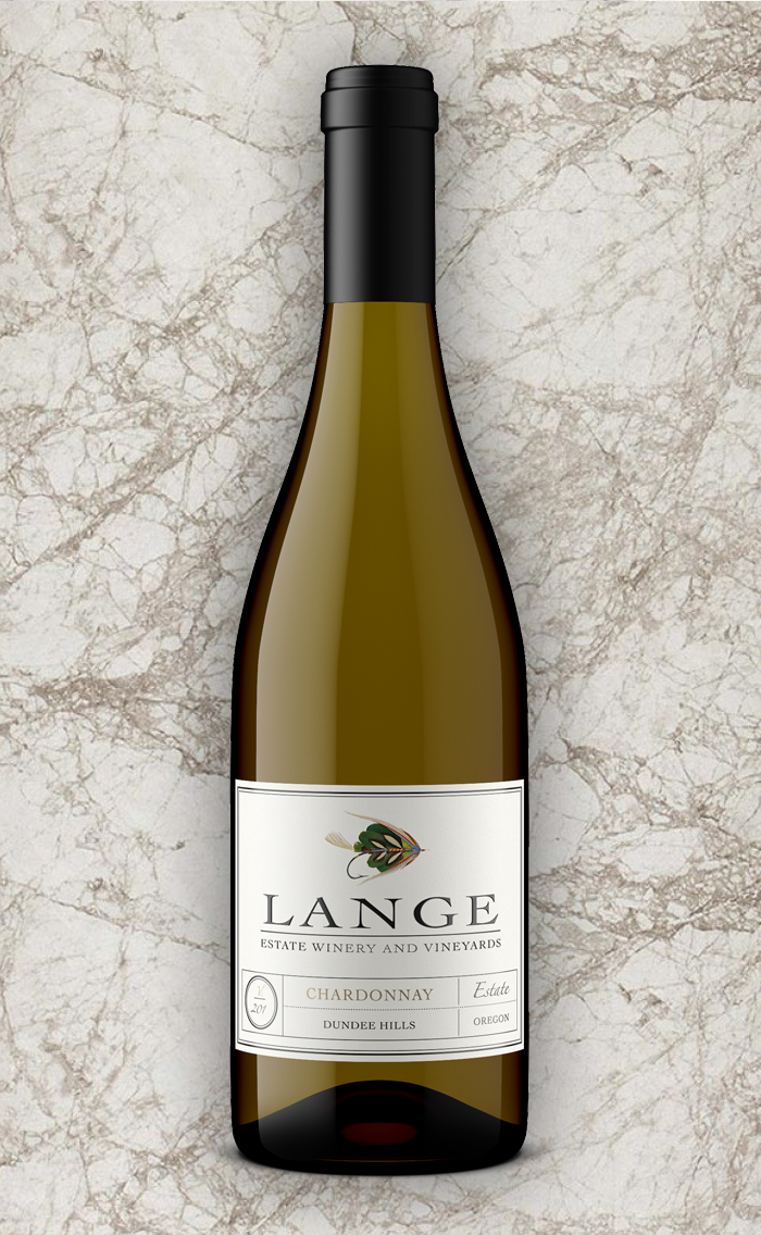 Lange Estate Chardonnay on Marble Background
