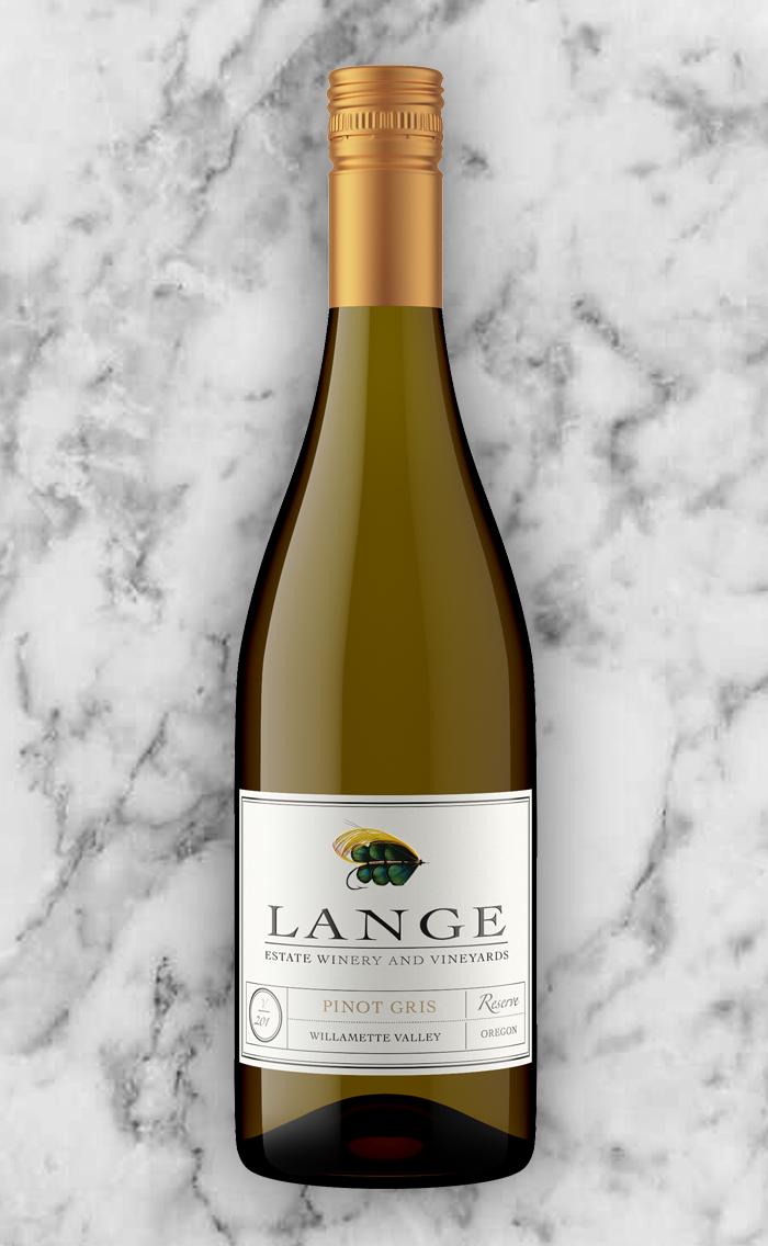 Lange Estate Pinot Gris on Marble Background