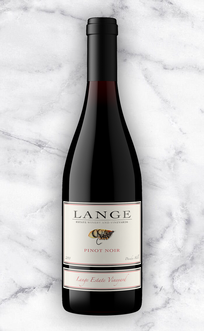 Lange Estate Pinot Noir on Marble Background