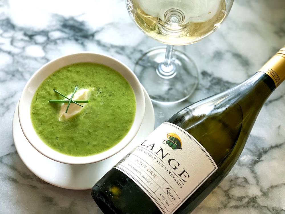Pea Soup with 2019 Pinot Gris Reserve