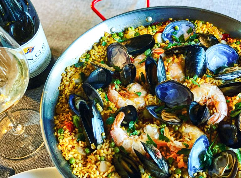 Seafood Paella with Lange Evangeline Pinot Gris