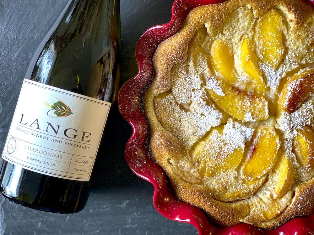 Peach Clafoutis and Lange Estate Chardonnay