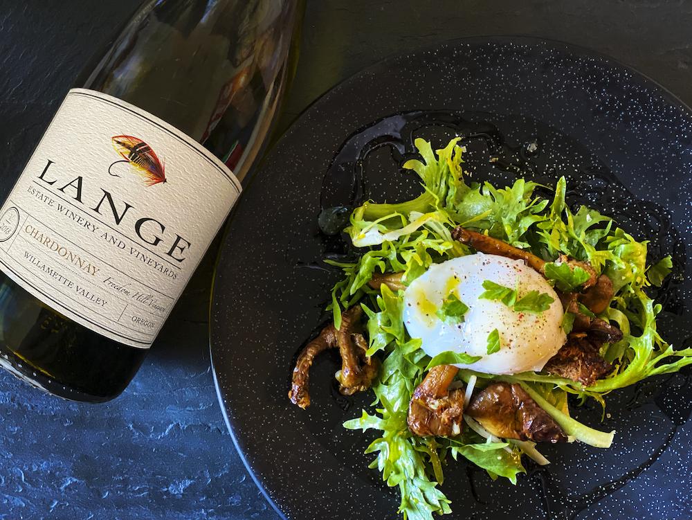 Salade Lyonnaise and Freedom Hill Chardonnay