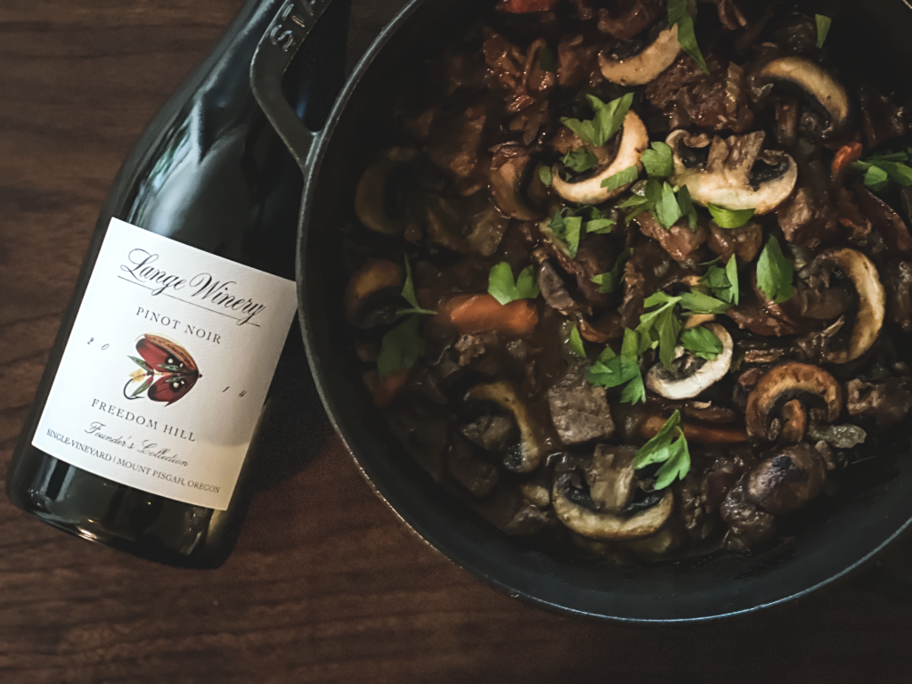 Boeuf Bourgignon and Freedom Hill Pinot Noir